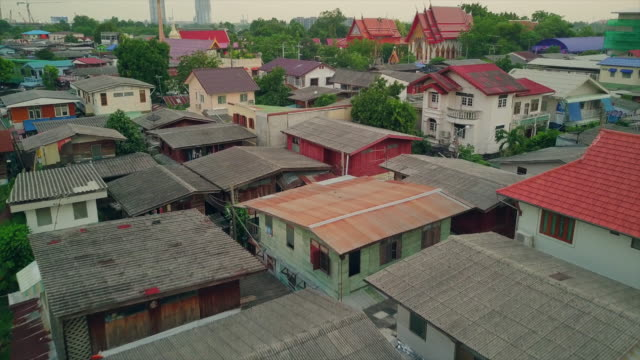 asia village, aerial view - slum stock videos & royalty-free footage