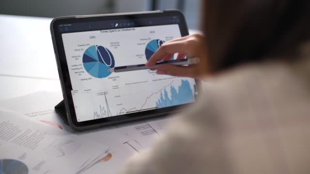 vídeos de stock, filmes e b-roll de mulher de ásia que olha e que analisa dados do mercado de valores de acção - gráfico