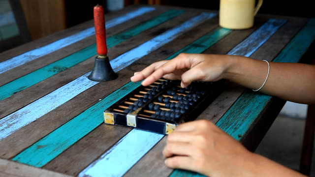 Asia woman using abacus.