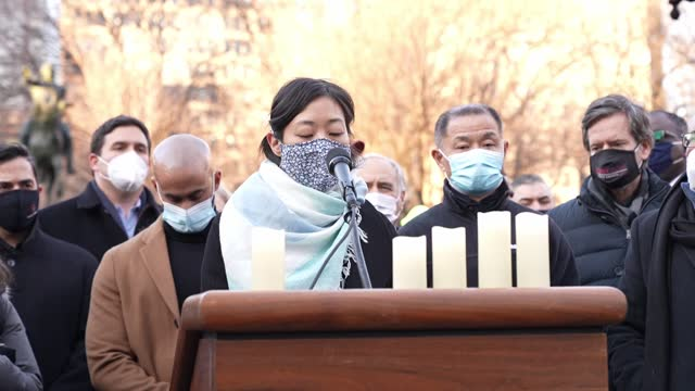 asian americans and new yorkers are gathered for a peace vigil for atlanta spa shooting victims of asian hate at the union square in new york city,... - shooting crime stock videos & royalty-free footage