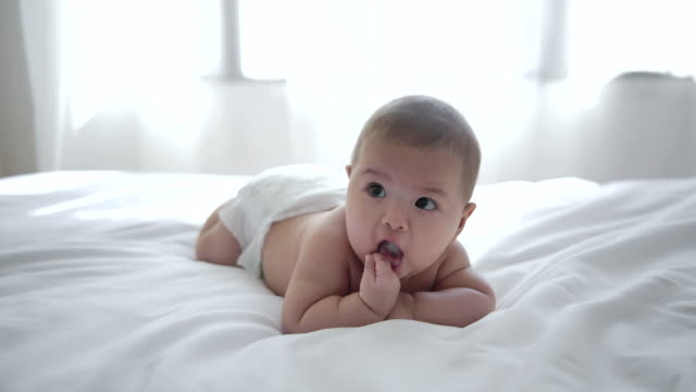 asian babies are crawling and laugh happily - crawling stock videos & royalty-free footage