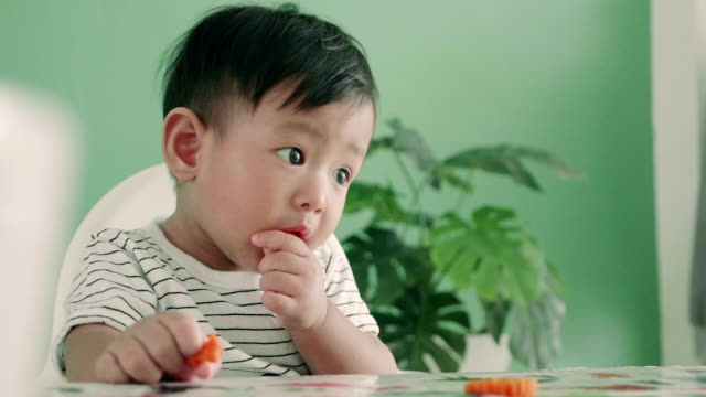 asian baby boy eating a carrot, close up - carrot stock videos and b-roll footage