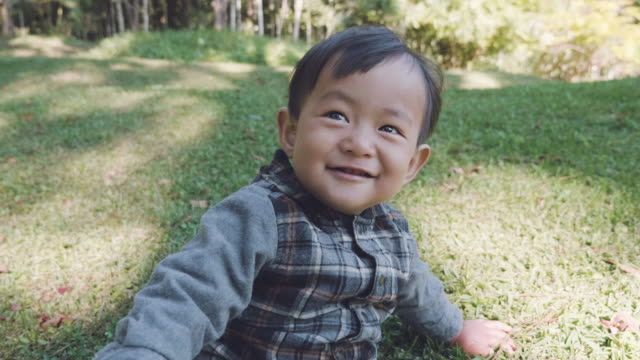 Asian baby boy (12 months) playing  on the grass in the forest.