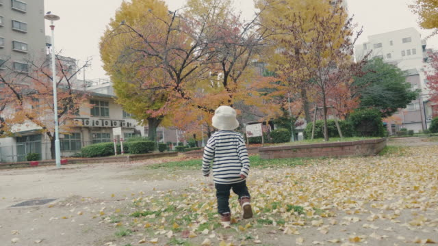 asian baby boy running in the park - november stock videos & royalty-free footage