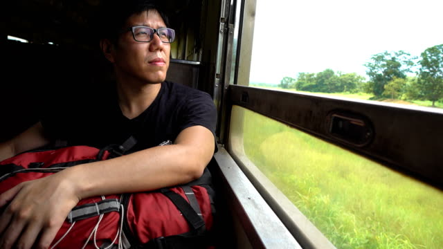 Asian Backpacker Man looking out of a train window while travel