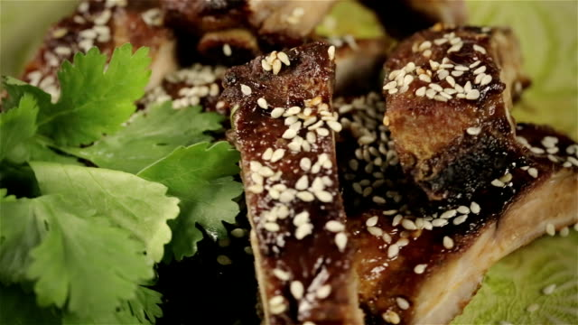 asian bbq ribs with sesame - sesame stock videos and b-roll footage