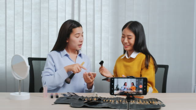 asian beauty influencer recording vlog online broadcast with makeup cosmetic online influencer on social media concept live streaming viral vlogging. - live broadcast stock videos & royalty-free footage