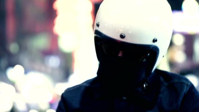 asian biker - casco da motociclista video stock e b–roll