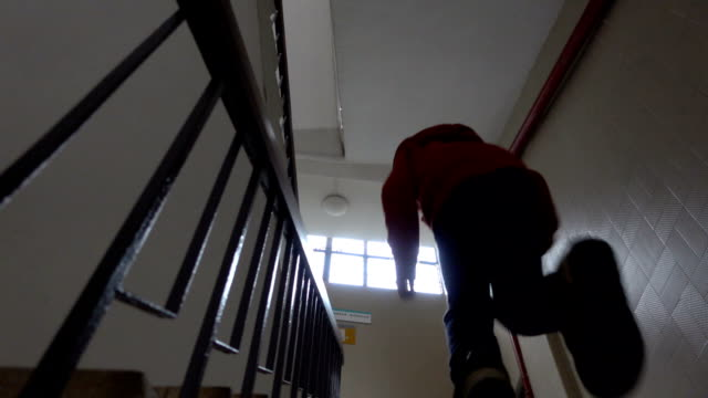 asian boy going upstairs urgently - schoolboy stock videos & royalty-free footage