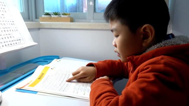 vídeos de stock, filmes e b-roll de menino asiático que estuda em casa - idioma