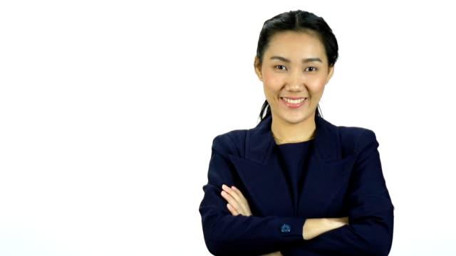 Asiatiska affärskvinna på vit bakgrund