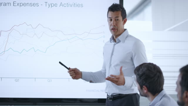 Asian businessman giving a financial presentation to his colleagues using a large screen in meeting room