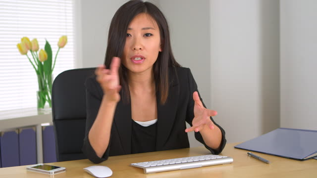 Asian businesswoman describing plans for company