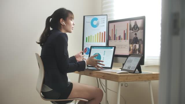 stockvideo's en b-roll-footage met aziatische onderneemster die een half kostuum en bedrijfskleding op bovenkant draagt en videoconferentievergadering met haar collega heeft - formele kleding