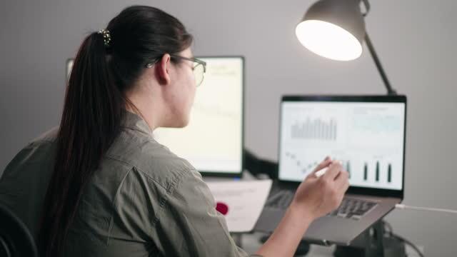 vidéos et rushes de femme d'affaires asiatique travaillant dans un bureau entouré par des écrans d'ordinateur de données affichant - vigilance