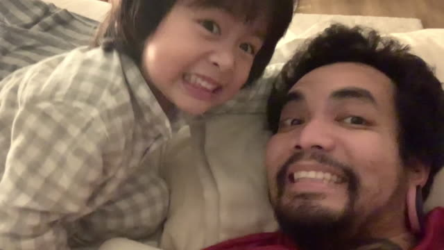 asian child and hipster man taking selfie with smartphone camera laughing - fathers day stock videos & royalty-free footage