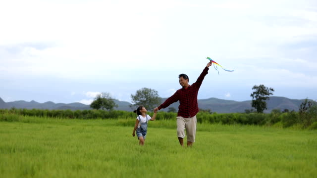 asian child girl and father with a kite running and happy on meadow in summer in nature - ethnicity stock videos & royalty-free footage