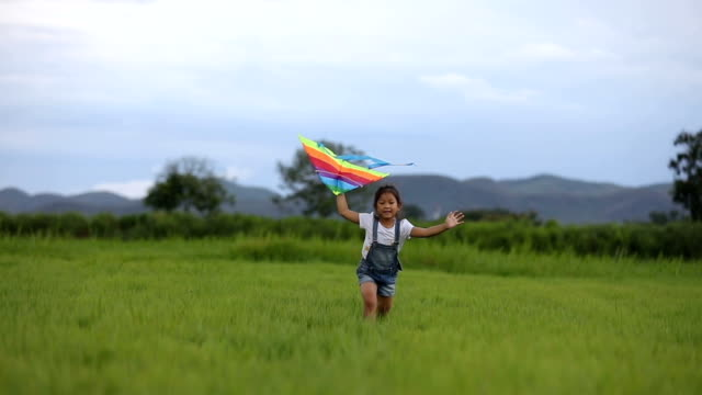 asian child girl and father with a kite running and happy on meadow in summer in nature - kid with kite stock videos & royalty-free footage