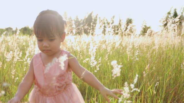 アジアの子供の女の子が自然の中で夏の草原で幸せに走って笑う - 小さい点の映像素材/bロール