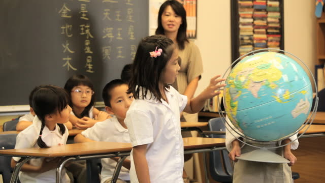 asian child in classroom presenting model solar system to camera / richmond, virginia, usa - waving stock videos & royalty-free footage