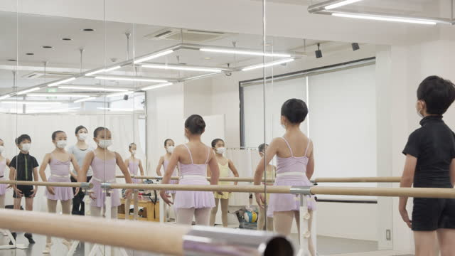 asian children ballet students and asian instructor in the mirror are taking lesson in studio with ballet lesson bar. - leotard stock videos & royalty-free footage