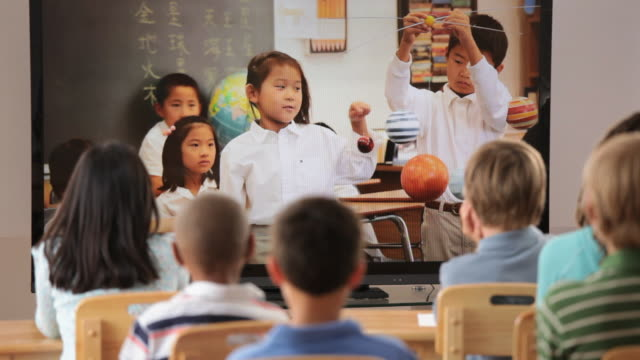 Asian Children in Classroom Video Conferencing with Classroom in America / Richmond, Virginia, USA