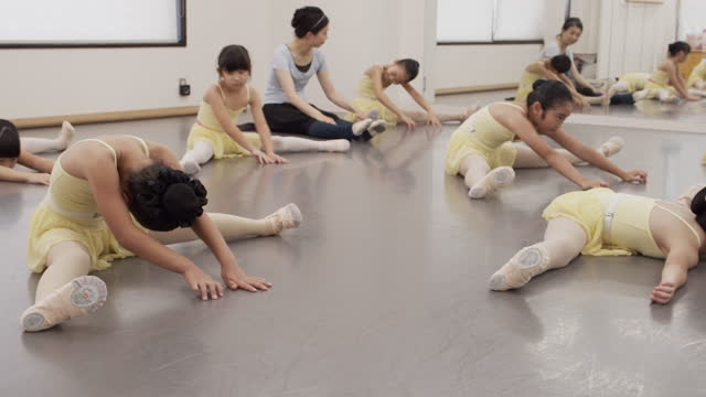 asian children in leotards and asian female instructors are taking ballet lessons in studio - leotard stock videos & royalty-free footage