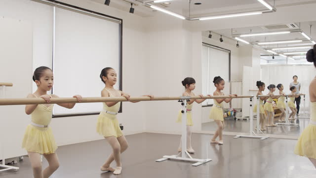 asian children of ballet students in leotards are taking lessons side by side in studio - 神奈川県点の映像素材/bロール