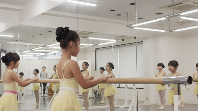 asian children of ballet students in leotards are taking lessons side by side in studio - leotard stock videos & royalty-free footage