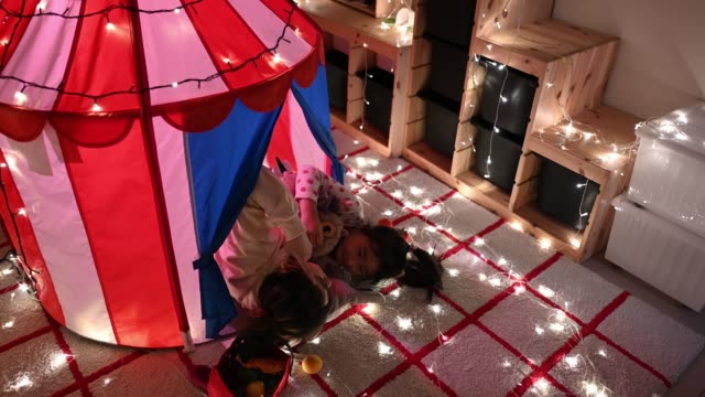 asian chinese child playing in the playroom in the tent with her mother - tent stock videos & royalty-free footage