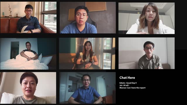 asian chinese colleague work from home online meeting multiple screen discussion - medium group of people stock videos & royalty-free footage
