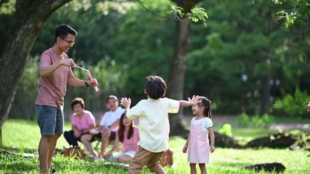 vidéos et rushes de asiatique chinois multi génération de pique-nique familial de liaison avec la baguette magique de bulle - picnic