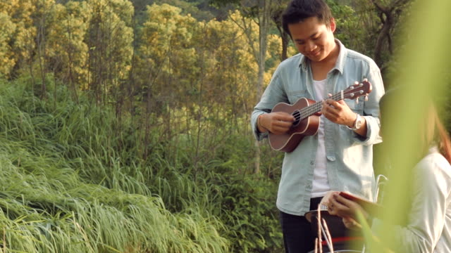 asian couple play ukulele together - acoustic guitar stock videos and b-roll footage