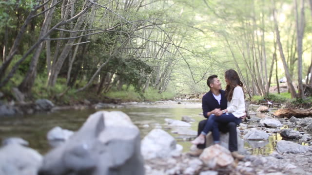 vídeos de stock, filmes e b-roll de asian couple relax and embrace in forest creek setting - embrace