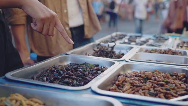 asian couple tourist enjoying fired insects in khao san road. bangkok, - esotismo video stock e b–roll