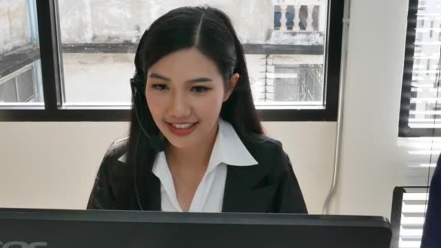 asian customer service working
