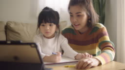 Asian daughter attending to online class from home with mother.