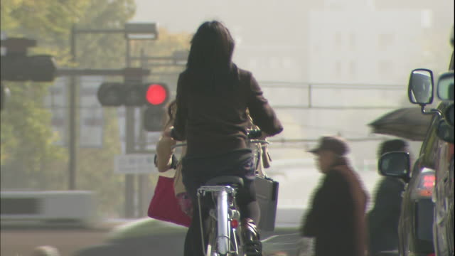 Asian dust obscures a woman on a bicycle on Peace Boulevard in Hiroshima, Japan.