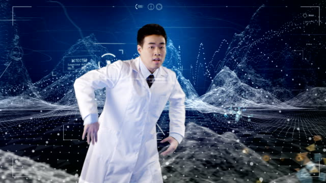 Asian ethnicity scientist breakdance. Data and computer generated mountains in background