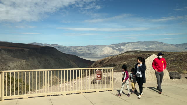 asian family visit father crowley overlook - death valley national park stock videos & royalty-free footage