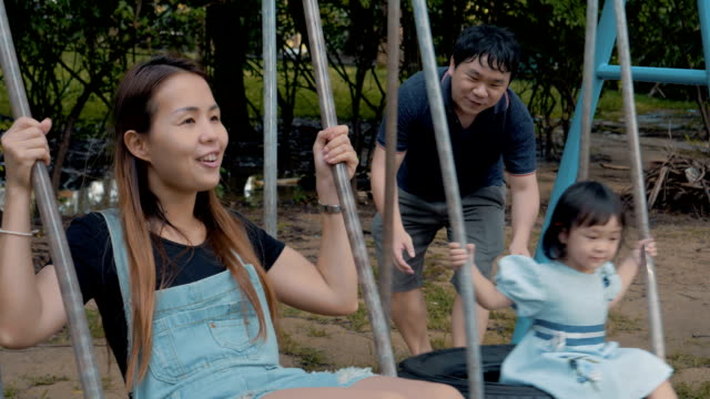 Asian Family With A Little Girl Swinging Enjoying In The Public Park