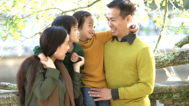 asian family with two children at the park - east asian ethnicity stock videos & royalty-free footage