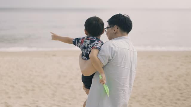 vidéos et rushes de père asiatique portant son fils marchant à la plage - lunettes de vue