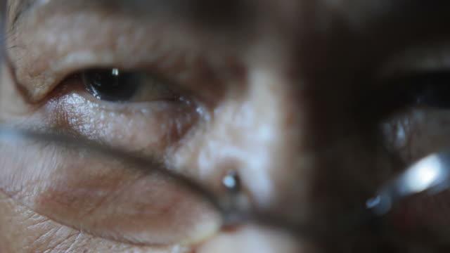 Asian female elder eyes
