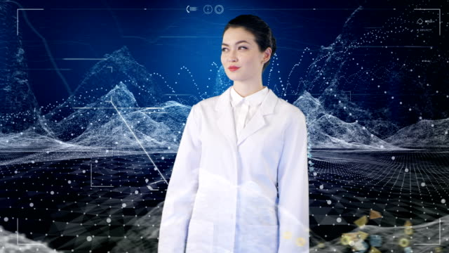 Asian female scientist insight virtual reality.digital data and particles