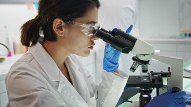 vídeos de stock e filmes b-roll de asian female scientist satisfied with her work. looking at camera. futuristic genetic research laboratory - mutação genética