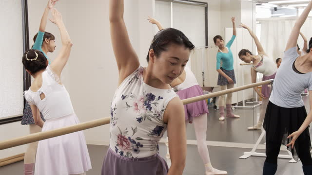 asian female seniors are taking ballet lesson by asian female instructor with ballet lesson bar. - ballet dancing stock videos & royalty-free footage