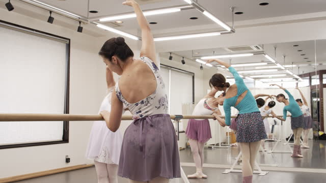 asian female seniors are taking ballet lesson by asian female instructor with ballet lesson bar. - leotard stock videos & royalty-free footage
