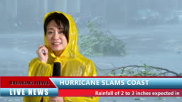 Asian female TV weather reporter reporting on hurricane