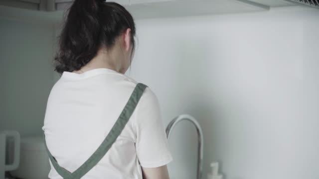 台所でアジアの女性の洗い物皿 - 皿洗い点の映像素材/bロール